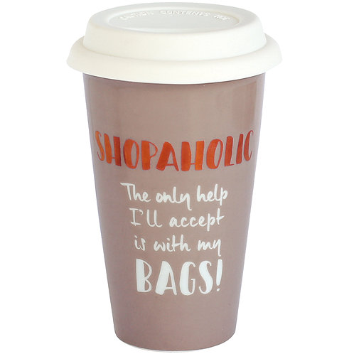 Shopaholic Ceramic Travel Mug