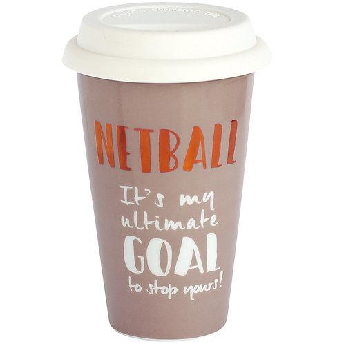 Netball Ceramic Travel Mug