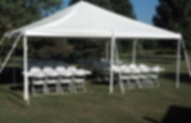 party tent rental 20' x 20' tent with 6 tables and 48 chairs.