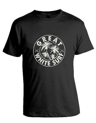 Great white surf mens black palm tree t-shirt