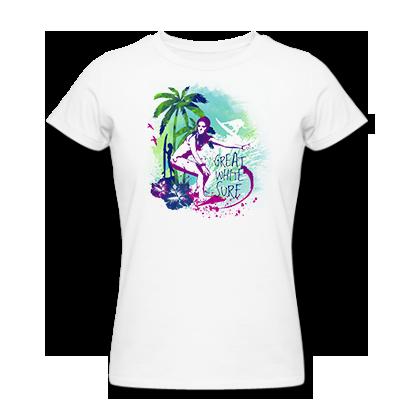 Great White surf ladies island surfer t-shirt