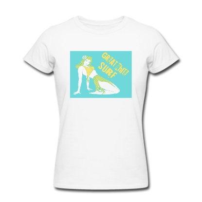 Great White surf ladies hula girl t-shirt