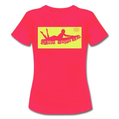 Great White surf ladies laying surfer t-shirt