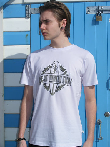 Great white surf mens brown surf board t-shirt