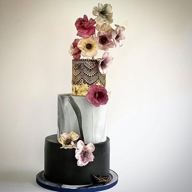 Vintage cake. 24k edible gold leaf, sugaWilson Custom Cakes Wedding Cake