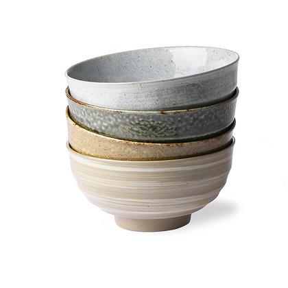 Keramik skåle i brune nuancer (sæt à 4)