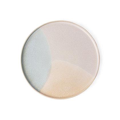 3 farvet keramik tallerken i mint/nude