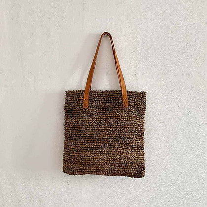 Square dark straw bag with leather straps