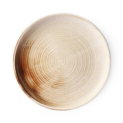 Rustik tallerken i creme/brun