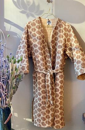 Relove and Roses quiltet silke lang jakke brun/gul