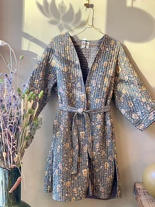 Relove and Roses quiltet silke lang jakke blå/grå/gul