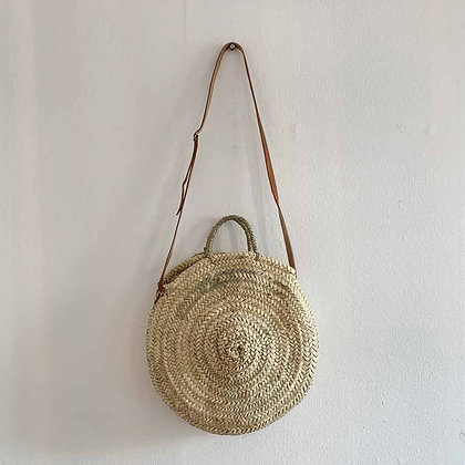 Large round straw bag with leather straps
