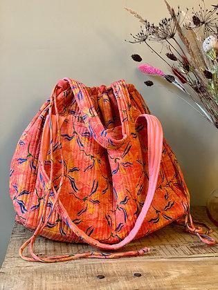 Lotus taske quiltet silke Relove&Roses - Lotus taskerød/gul/blå