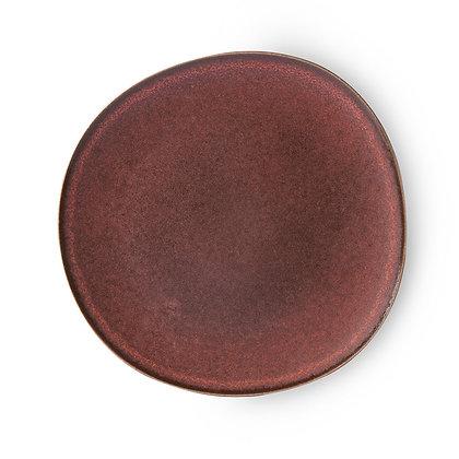 Stor keramik tallerken i bordeaux