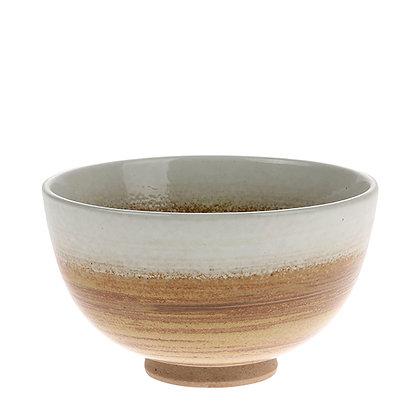 Keramik skål i brun/hvid