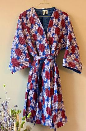 Molly jakke quiltet silke Relove&Roses  bleu, blanc, rouge