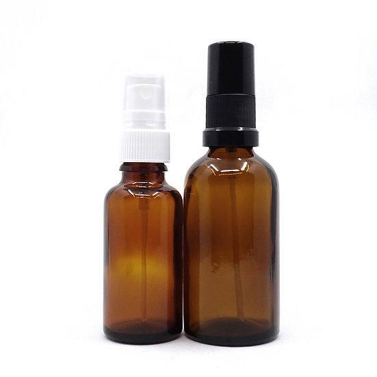 Flacon spray ambré pour mélanges d'eaux florales