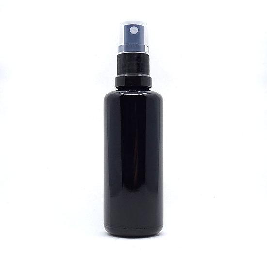 Flacon spray noir pour mélanges d'eaux florales