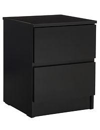 Eden 2 Drawer Black Bedside Table