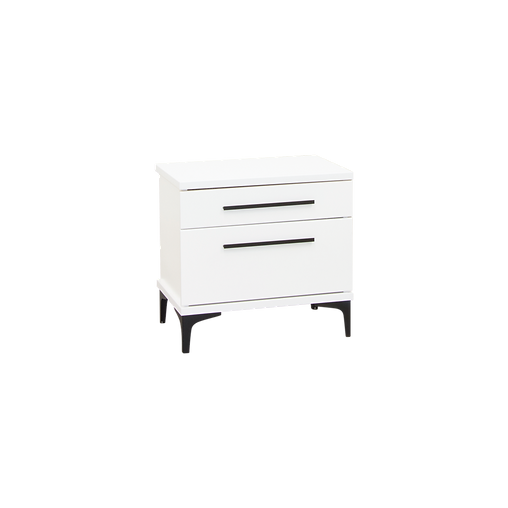 AZA WHITE TWO DRAWER BEDSIDE WIDE