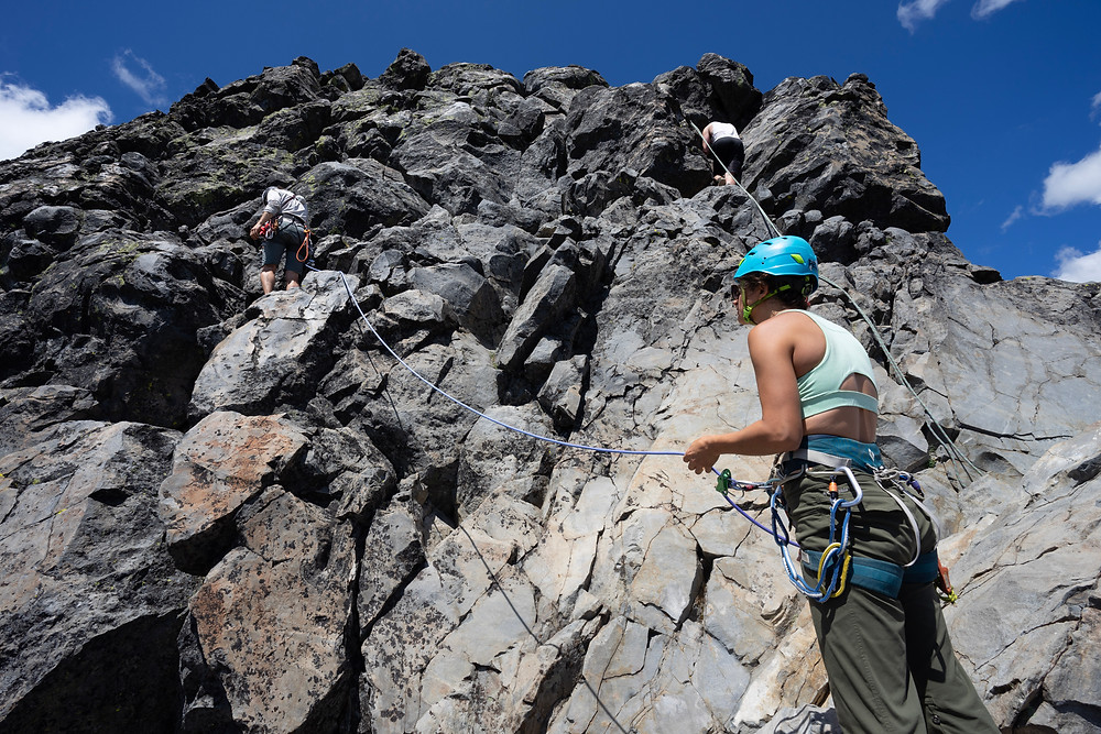 Our fearless leading climbing of the chicken ledge