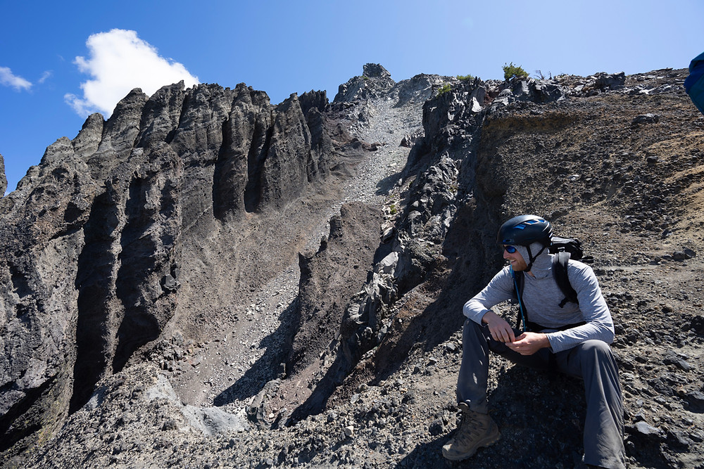 Admiring the interesting rock formations on Mount Thielsen