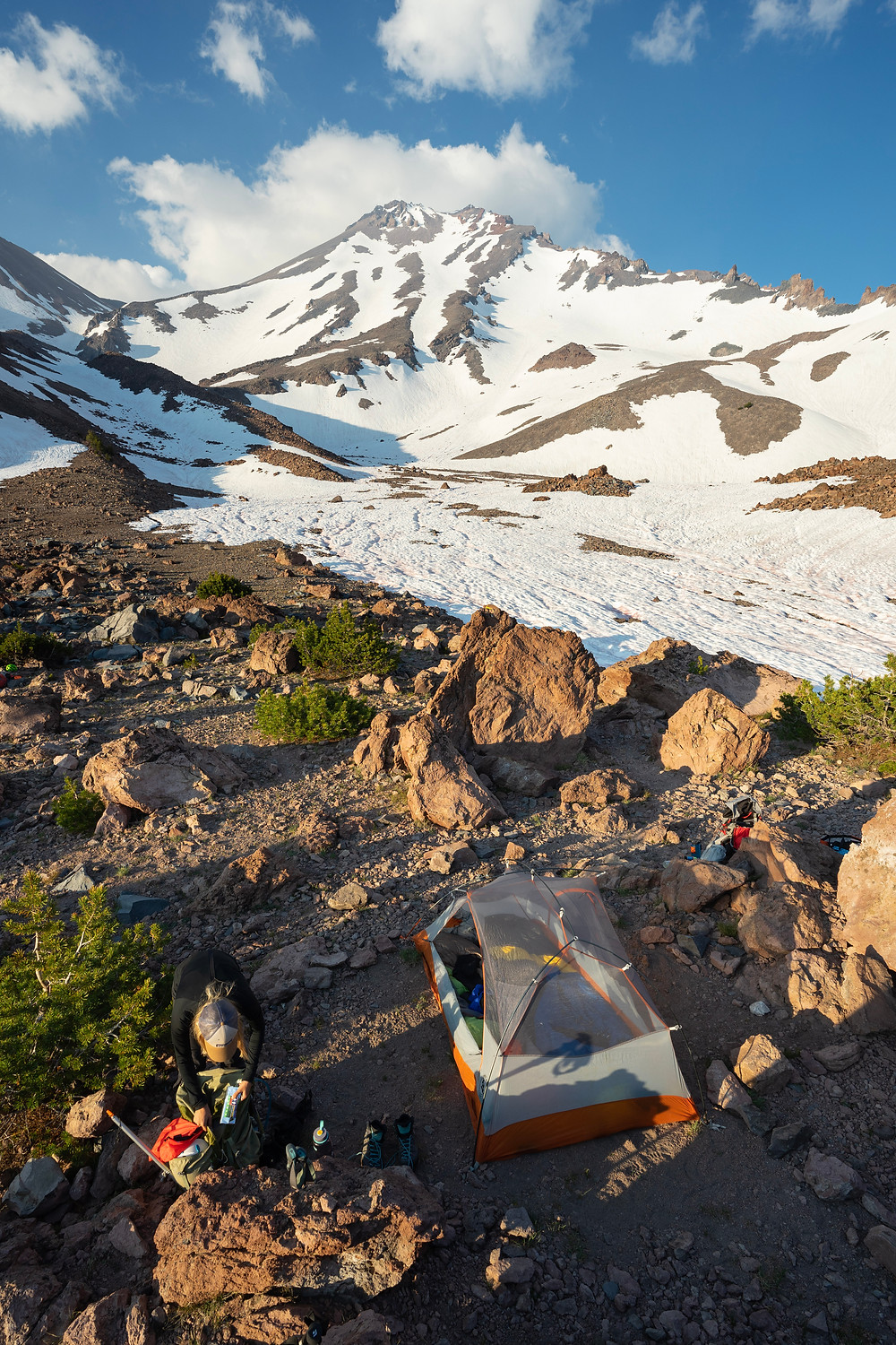 Camping in the Hidden Valley of Mount Shasta below the West Face route