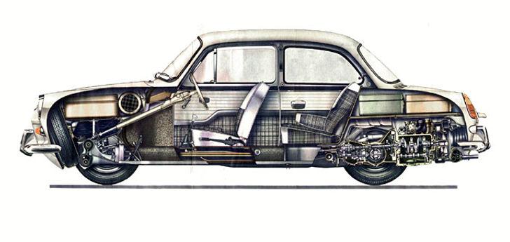 VW 1500, седан в разрезе