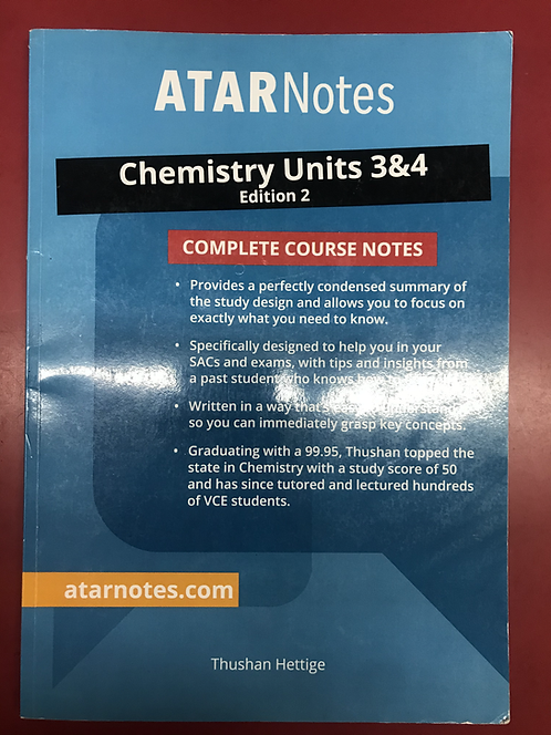 ATARNotes Chemistry Complete Course Notes Units 3&4 (SECOND HAND)