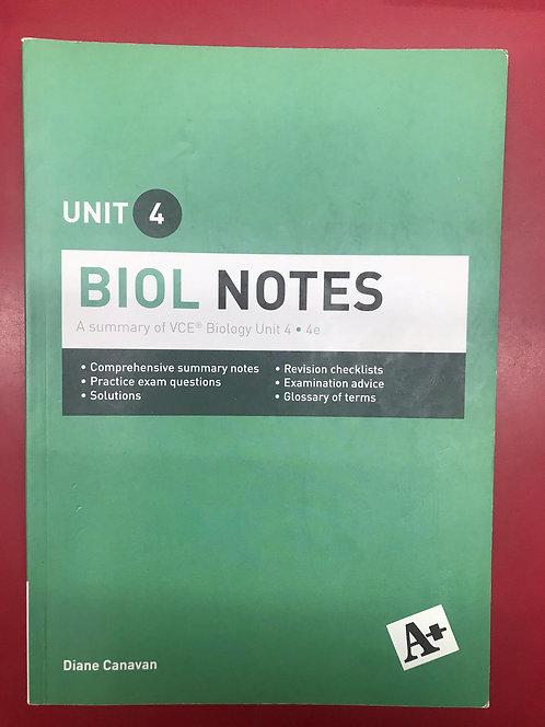 A+ Biol Notes VCE Unit 4 4E (SECOND HAND)