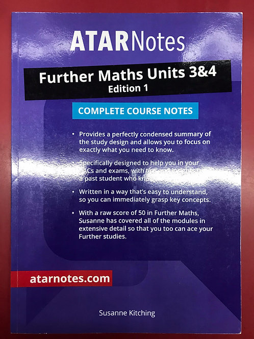 ATARNotes Further Maths Complete Course Notes Units 3&4 (SECOND HAND)