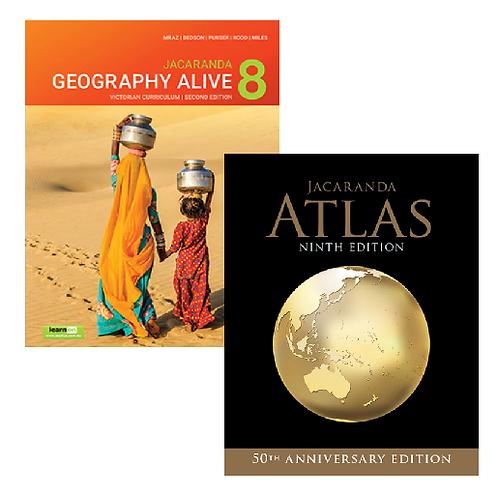 Jacaranda Geography Alive 8 2E Victorian Curriculum + Atlas 9E (PRINT + DIGITAL)