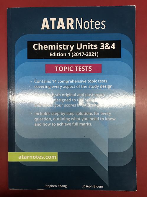 ATARNotes Chemistry Topic Tests Units 3&4 (SECOND HAND)