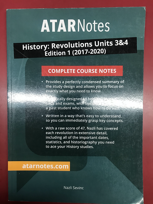ATARNotes History: Revolution Complete Course Notes Units 3&4 (SECOND HAND)