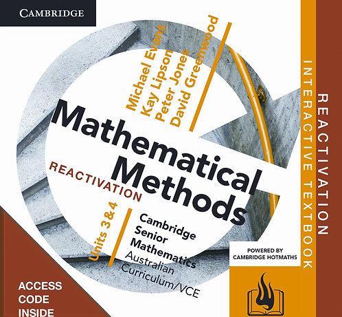 Cambridge Senior Maths: VCE Mathematical Methods Units 3&4 Reactivation Code