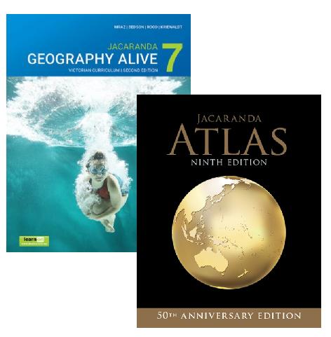 Jacaranda Geography Alive 7 2E Victorian Curriculum + Atlas 9E (PRINT + DIGITAL)