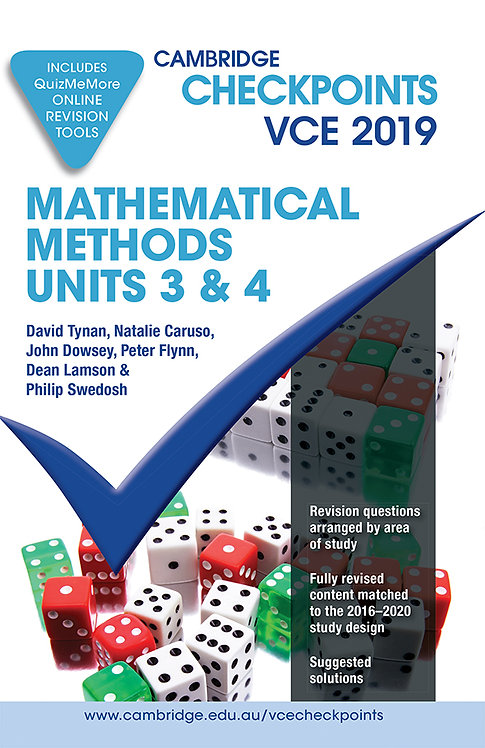 Cambridge Checkpoints VCE Mathematical Methods Units 3&4 2019