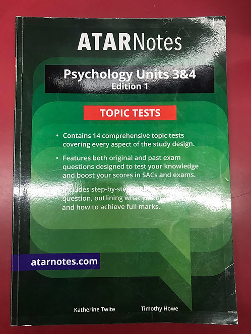 ATARNotes Psychology Topic Tests Units 3&4 (SECOND HAND)