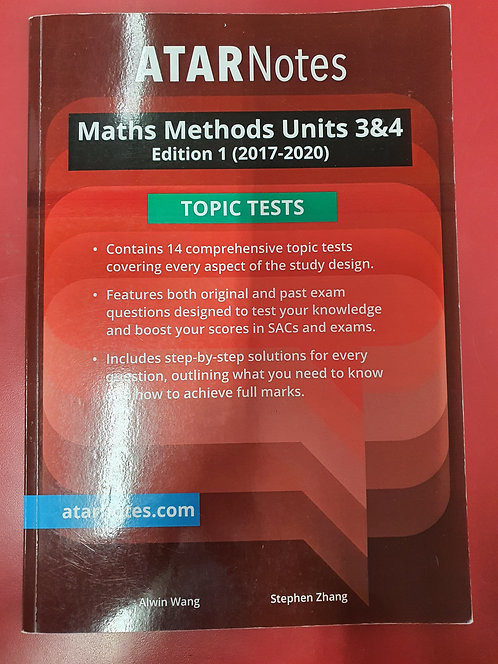 ATARNotes Maths Methods Topic Tests Units 3&4 (SECOND HAND)