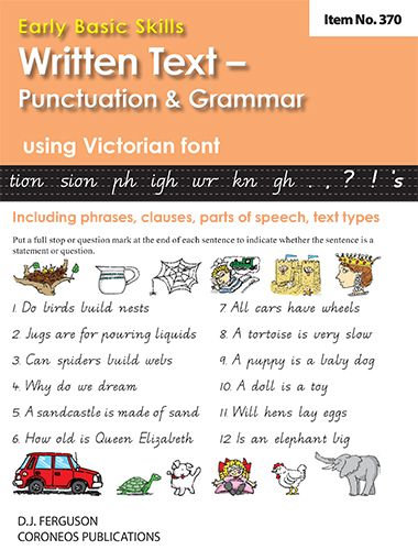 Written Text: Punctuation and Grammar using Victorian font (No. 370)
