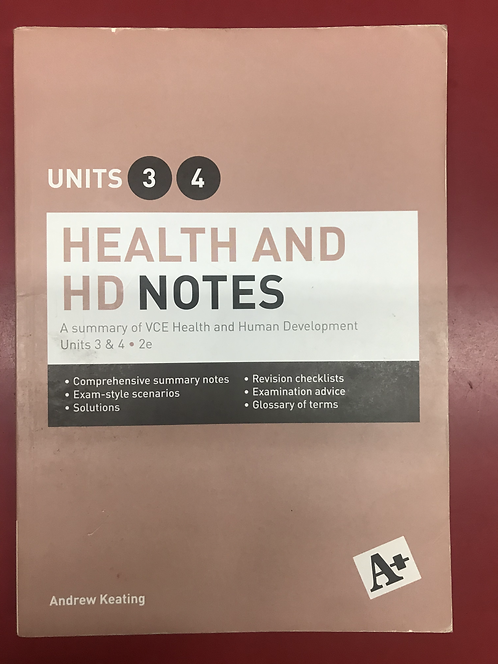 A+ Health and HD Units 3&4 Notes 2E (SECOND HAND)