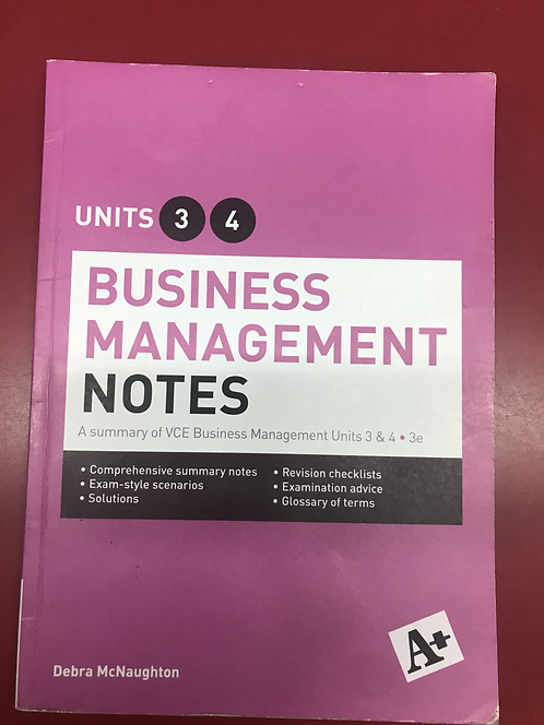 A+ Business Management Notes Units 3&4 3E (SECOND HAND)