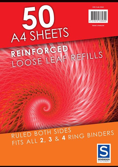 Loose Leaf Refills Reinforced A4 7mm Pkt 50