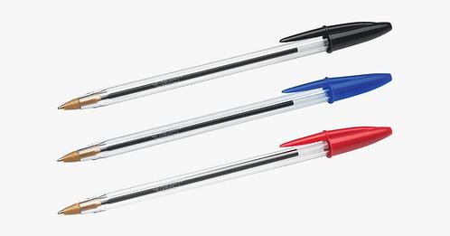 1x 5 Pack Pens -Ballpoint Cap Type Medium (3 blue, 1 black, 1 red)