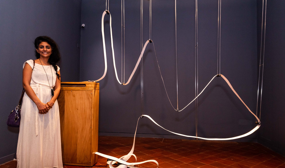 Nandita Kumar with her installation,