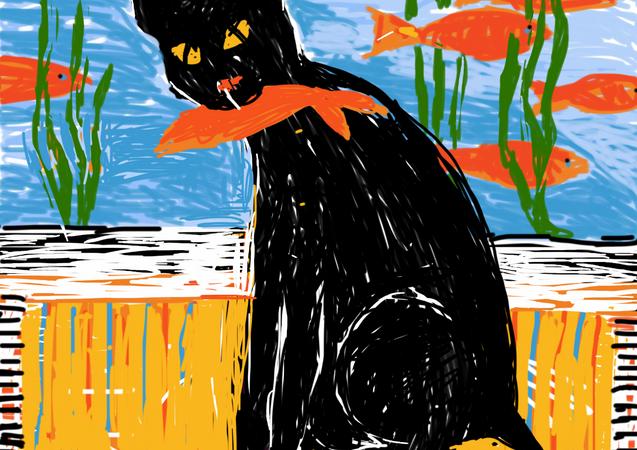 Black cat eats gold fish