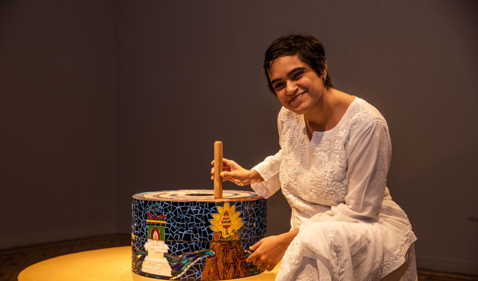 Afrah Shafiq with her artwork, A TALE OF TWO SISTERS