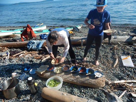 Serving a dinner as a burrito bar on the beach