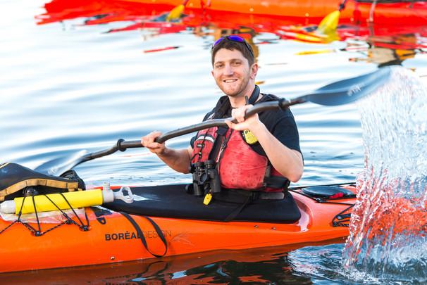 Splashing from the kayak