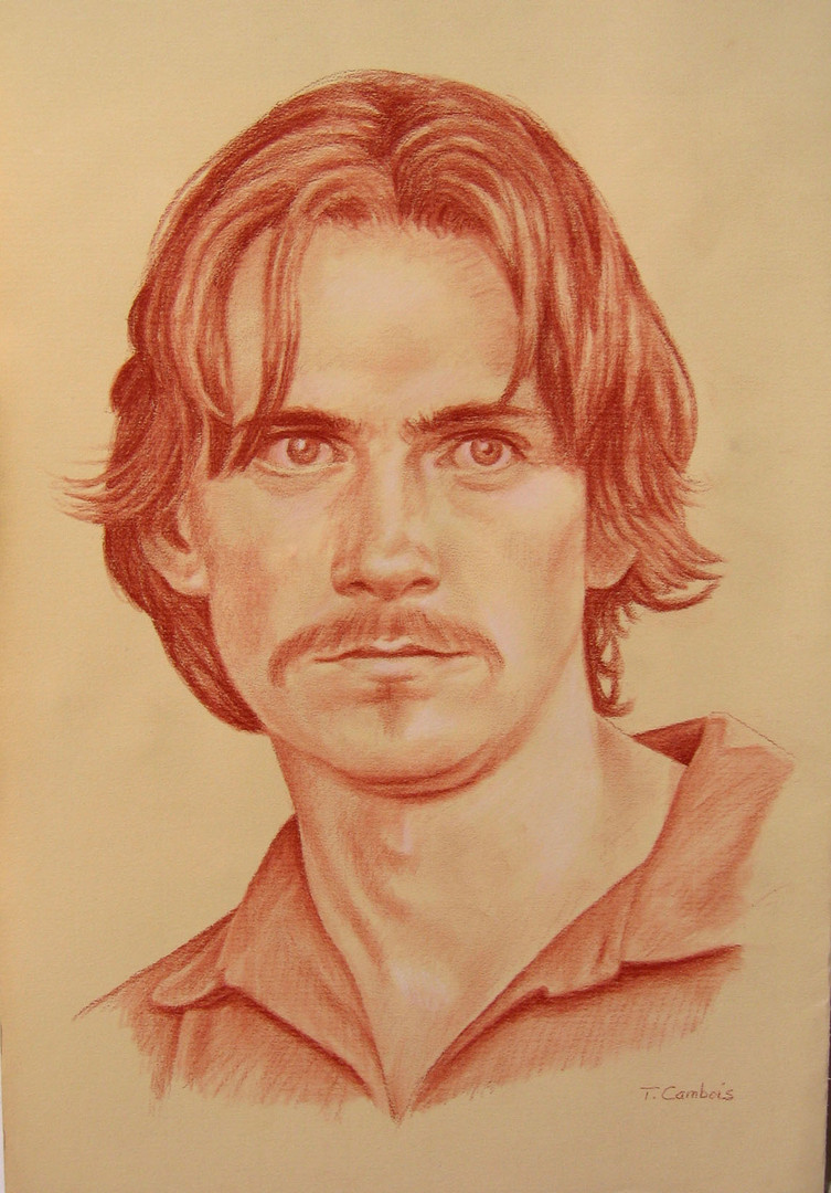 Portrait de James Taylor a la sanguine
